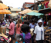 White Woman in African Market Shopping — Stock Photo