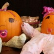 Pumpkin Babies in Onesies 2 — Stock Photo