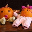 Pumpkin Babies in Onesies Wide Angle — Stock Photo