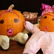 Two Cute Princess Pumpkin Babies — Stock Photo