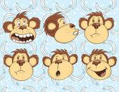 Illustration vector of monkeys faces — Stock Vector