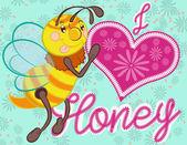かわいい蜂のイラスト. — ストックベクタ