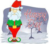 Santa claus on green background. Vector illustration for retro christmas card. — Stock Vector
