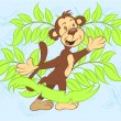 Ilustration vector happy monkey with leaves. — Imagen vectorial