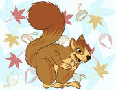 Illustration vector of cute cartoon squirrel sneak up to nuts. — Stock Vector