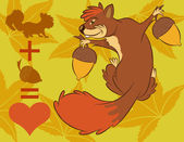 Illustration vector of cute cartoon squirrel sneak up to nuts. — Stock Vector