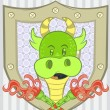 Illustration vector of little dragon green with background — Stock Vector #33981377