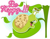 Illustration vector of cute snail with leaves — Vector de stock