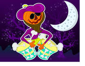 Illustration vector character Pumpkin music for halloween — Stock Vector