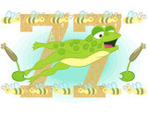 Illustration vector of little frog wifht bees. — 图库矢量图片