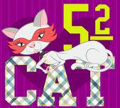 Illüstrasyon vektör antifas ve elmas kolye için yazdırılan forma ile sevimli kedi. — Stok Vektör