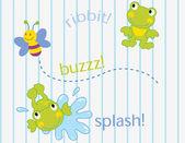Vector ilustración de abejas rana wifht. — Vector de stock