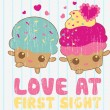Ilustration of love muffin vector — Stock Vector