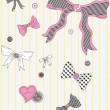Vector illustration of buttons and bows with ribbons. — Imagens vectoriais em stock