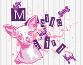 Illustration vector of cute trend chihuahua with text. — 图库矢量图片