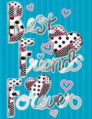 Lettering Love And Best Friends Style Illustration Vector. — Stock Vector