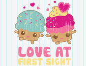 Ilustration of love muffin vector — Stockvektor