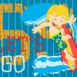 Illustration Vector of Pacific Waves Surfing Kid. — Stockvector