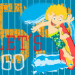 Illustration Vector of Pacific Waves Surfing Kid. — Vector de stock