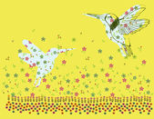 Vector illustration with a little bird and colorful blooming digitalis. — Vector de stock