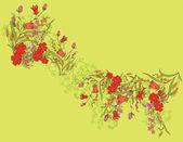 Illustration vectorielle avec un petit oiseau et digitalis floraison colorée. — Vecteur