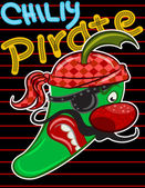 Abbildung vektor mexikanischen chili pfeffer cartoon mit text. — Stockvektor