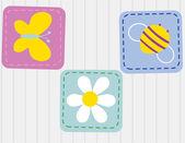 ベクターの花のかわいい漫画鳥。スタイリッシュな花カード。明るい色で夏の背景. — ストックベクタ