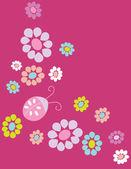 Oiseaux mignon dessin animé sur les fleurs en vecteur. carte floral élégant. fond d'été aux couleurs vives. — Vecteur