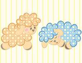 Vector ilustración de oveja bonita con amigos y flores — Vector de stock