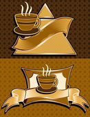 插画矢量咖啡和餐厅菜单标签设计 — 图库矢量图片