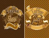 Illüstrasyon vektör kahve ve Restoran Menü etiket tasarımı — Stok Vektör