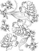 Lente word, bloemen en vlinder illustratie vector — Stockvector