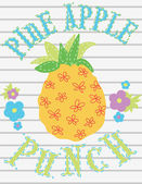 Pineapple fruit.Vector fresh painting illustration isolated with flowers — Stock Vector