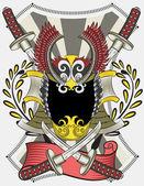 Illustration Vector of Samurai Skull with Swords. — Stock Vector