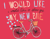 Illustration Vector Bicycle with a basket full of hearts. — Stock Vector