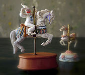 Funny Clowns in Carrousels — Stock Photo