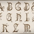 Alphabets.Brilliant latin letters on background part 1. — Stock Photo