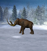 Mammoth in landscape in the ice age. — Stock Photo