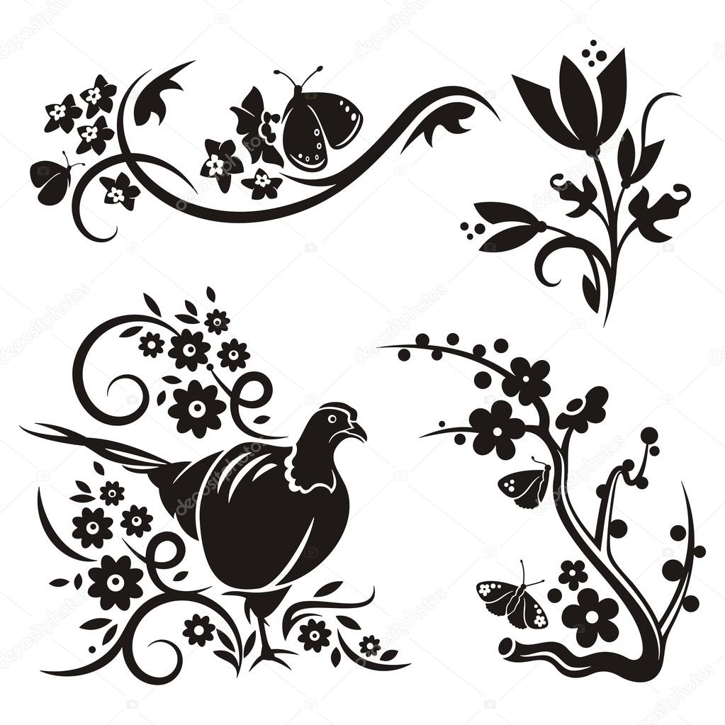 A Set Of 4 Chinese Floral Designs. Stock Vector 1358147 ...