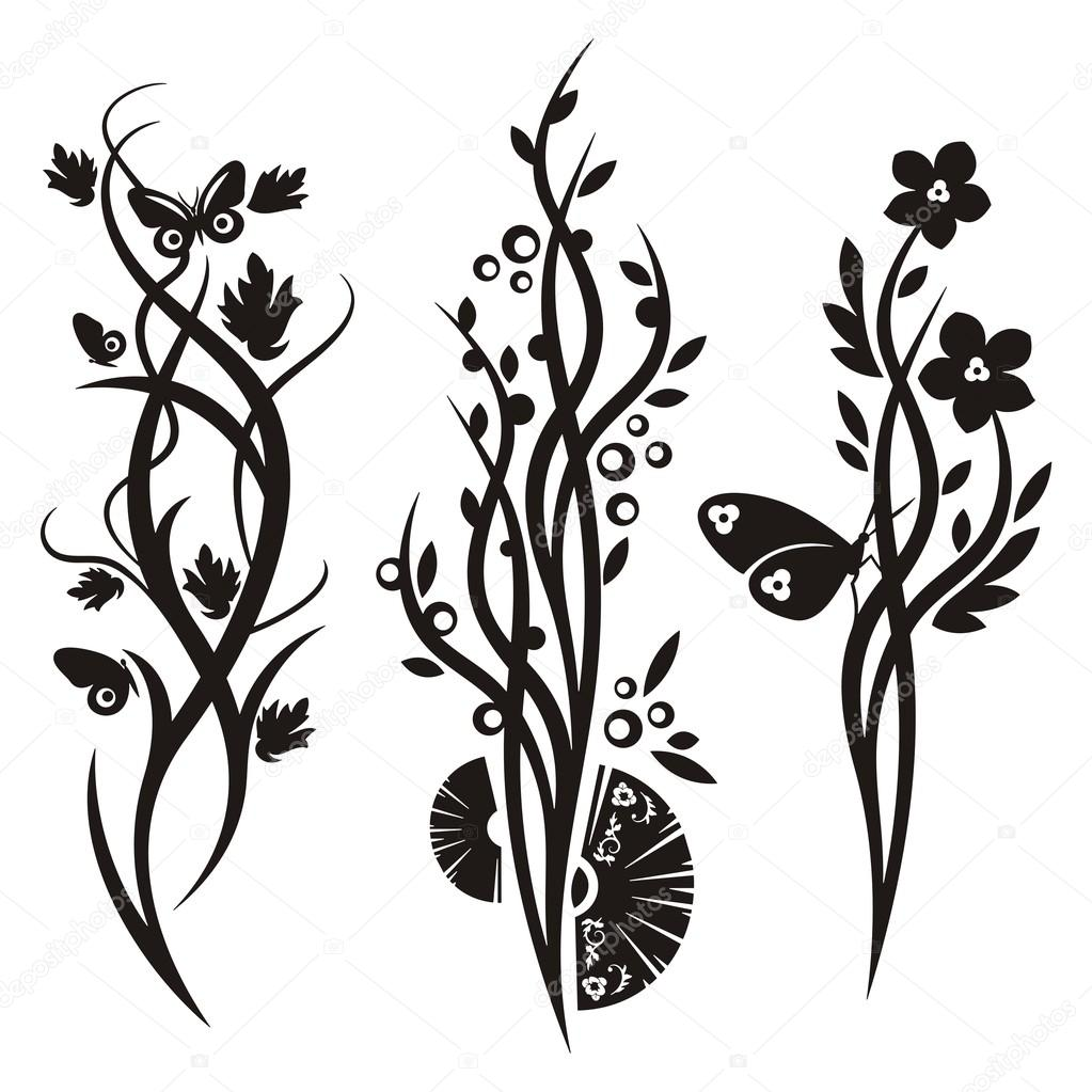A Set Of 3 Chinese Floral Designs Stock Vector Clipart