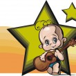 Stock Vector: Cute Baby Guitarist Vector Illustration