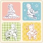 Baby Vector Illustrations Set — Stock Vector
