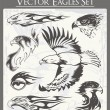 Flaming Eagle Vector Illustrations Set - Stok Vektr