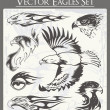 ストックベクタ: Flaming Eagle Vector Illustrations Set