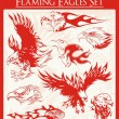 Flaming Eagle Vector Illustrations Set — Stock Vector
