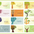 Vector Green Concept Business Cards with Trees - Stok Vektör