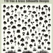 Vector Tree and Grass Silhouettes Set - Stock Vector