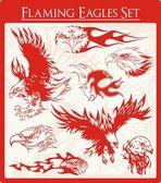Flaming Eagle Vector Illustrations Set — Stock Vector