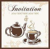 Tea time party invitation with place for your text. — Stock Vector