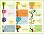 Vector Green Concept Business Cards with Trees — Stock Vector